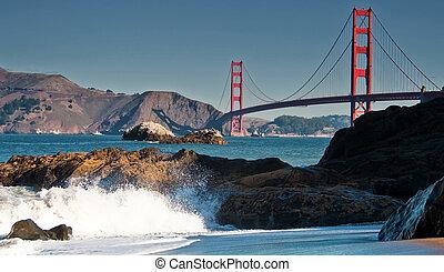 beau, doré, francisco, san, pont, célèbre, portail