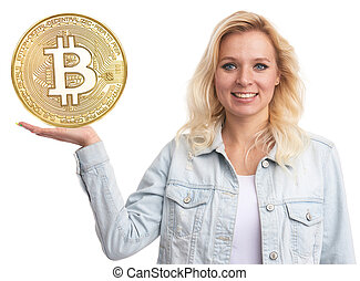 beau, doré, projection, bitcoin, blond, monnaie, girl