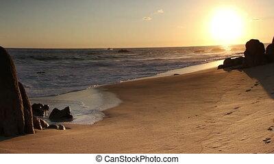 beau, droit, coup, cabo, mexique, portées, bas, ocean., qualité, secteur, là, los, surprenant, sur, autour de, californie, pacifique, baja, désert, ceci, lumière, timelapse, où, coucher soleil