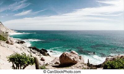 beau, droit, coup, mexique, portées, bas, ocean., qualité, secteur, là, los, surprenant, sur, autour de, californie, pacifique, baja, désert, ceci, lumière, cabo, timelapse, où