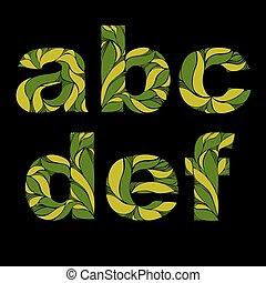 beau, e, d, lettres, c, b, printemps, ornament., pattern., a, letters., herbier, vert, capital, floral, décoré, police, f, minuscule