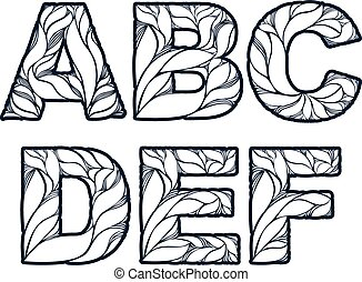 beau, e, style, c, couleur, b, ornament., letters., a, composer, élégant, unique, police, capital, floral, d, herbier, f