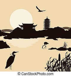 beau, eau, asiatique, paysage