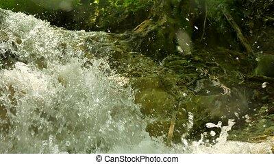 beau, eau, rivière, nature, courant, chute eau, fort, stones., montagnes