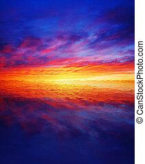 beau, eau, sur, coucher soleil