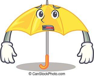 beau, effrayé, parapluie, caractère, jaune, ouvert