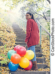 beau, elle, ballons, escalade, girl, escalier
