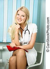 beau, elle, bureau, docteur
