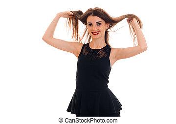 beau, elle, cheveux, noir, tenant mains, sourire, robe, girl