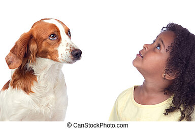 beau, elle, chien, haut, regarder, girl