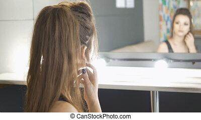 beau, elle, face., triste, regarder, miroir, girl