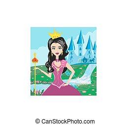 beau, elle, jeune, devant, château, princesse