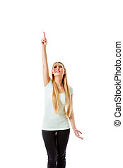 beau, elle, pointage, -, haut, isolé, white., girl, main