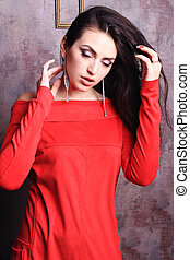 beau, elle, redresse, hair., girl, robe, rouges