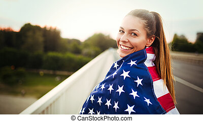 beau, emballé, drapeau, femme, américain