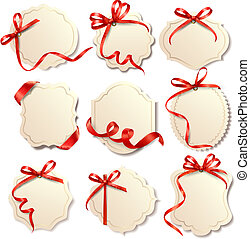 beau, ensemble, cadeau, arcs, vecteur, cartes, rubans, rouges