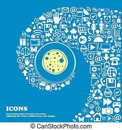 beau, ensemble, centre, icône, icônes, tordu, spirale, une, grand, vecteur, icon., gentil, pizza