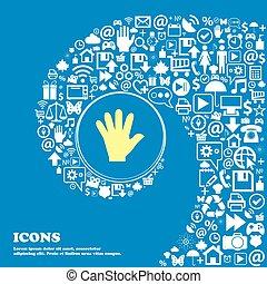 beau, ensemble, centre, icône, icônes, tordu, spirale, une, grand, vecteur, icon., main, gentil