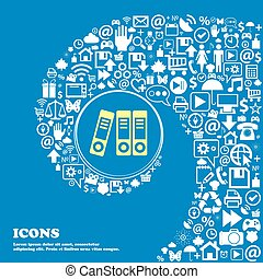 beau, ensemble, centre, icônes, classeurs, tordu, spirale, une, grand, vecteur, icon., gentil, icône