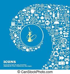 beau, ensemble, centre, icônes, tordu, spirale, grand, symbols., vecteur, hookah, icon., une, gentil