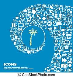 beau, ensemble, centre, icônes, tordu, spirale, grand, symbols., vecteur, paume, icon., une, gentil