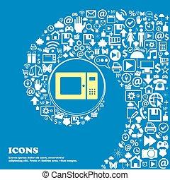 beau, ensemble, centre, icônes, tordu, spirale, micro ondes, une, grand, vecteur, icon., gentil, icône