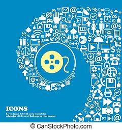 beau, ensemble, centre, icônes, tordu, spirale, une, grand, vecteur, icon., gentil, pellicule, icône