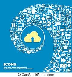 beau, ensemble, centre, icônes, tordu, spirale, une, grand, vecteur, icon., gentil, sauvegarde, icône