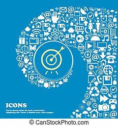 beau, ensemble, centre, icônes, tordu, une, grand, vecteur, gentil, spirale, icon., icône, cible