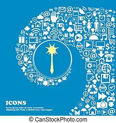 beau, ensemble, centre, icônes, une, tordu, symbole., grand, macis, vecteur, spirale, icon., signe, gentil
