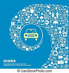 beau, ensemble, centre, icônes, voiture, tordu, spirale, une, grand, vecteur, icon., gentil, icône