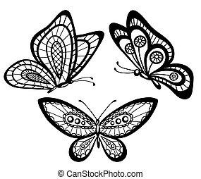 beau, ensemble, dentelle, guipure, papillons, noir, blanc