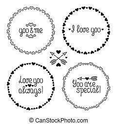 beau, ensemble, dessiné, romantique, elements., valentine, simple, vendange, cadre, main, vecteur, conception, modèle, hearts., jour, illustration.