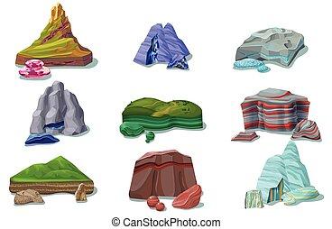 beau, ensemble, dessin animé, coloré, rochers