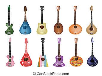beau, ensemble, fond, ukulele, guitares, blanc
