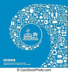 beau, ensemble, hamburger, centre, icônes, signe., tordu, spirale, grand, vecteur, icon., une, gentil