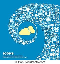 beau, ensemble, nuages, centre, icônes, tordu, spirale, une, grand, vecteur, icon., gentil, icône