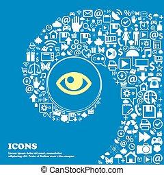 beau, ensemble, oeil, centre, icônes, tordu, spirale, grand, symbols., vecteur, icon., une, gentil