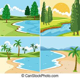 beau, ensemble, paysage