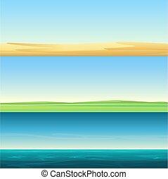 beau, ensemble, pré, bannières, océan, champ, sable, vecteur, fond, minimalistic, rural, désert, paysages, horizontal, mer, illustration.