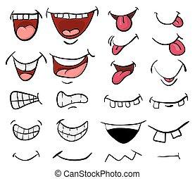 beau, ensemble, symbole, isolé, illustration, vecteur, bouche, fond, blanc, icône, dessin animé, design.