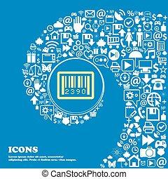 beau, ensemble, tordu, icônes, barcode, spirale, une, grand, vecteur, gentil, icon., icône, centre
