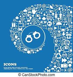 beau, ensemble, tordu, icônes, menottes, spirale, une, grand, vecteur, gentil, icon., icône, centre