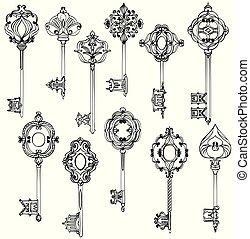 beau, ensemble, vendange, keys., noir, white.