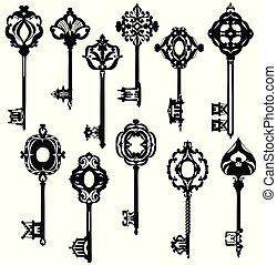 beau, ensemble, vendange, keys., noir, white., orné