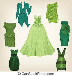beau, ensemble, vert, robes