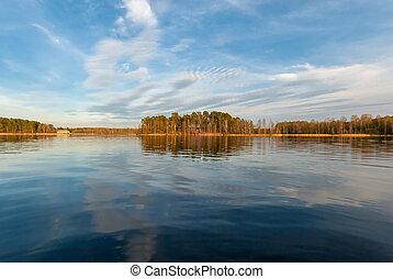 beau, ensoleillé, lac, jour automne, paysage