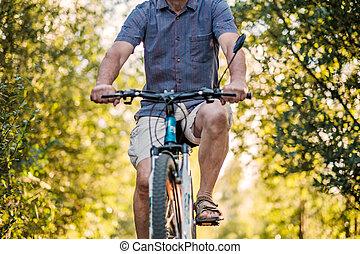 beau, ensoleillé, parc, équitation vélo, jour, homme