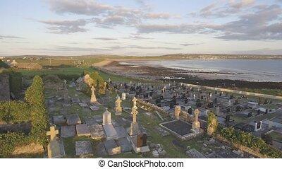 beau, enterrement, irlandais, soir, oeil, cimetière,...