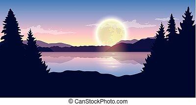 beau, entiers, nature, pourpre, lac, lune, nuit, paysage